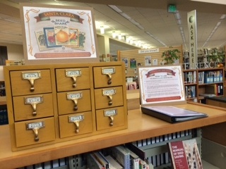 wooden card catalog that houses library seed share